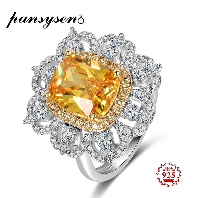 PANSYSEN NEW Fashion Real 925 Sterling Silver Jewelry Citrine Gemstone Rings For Women Wedding Engagement Fine Jewelry Ring