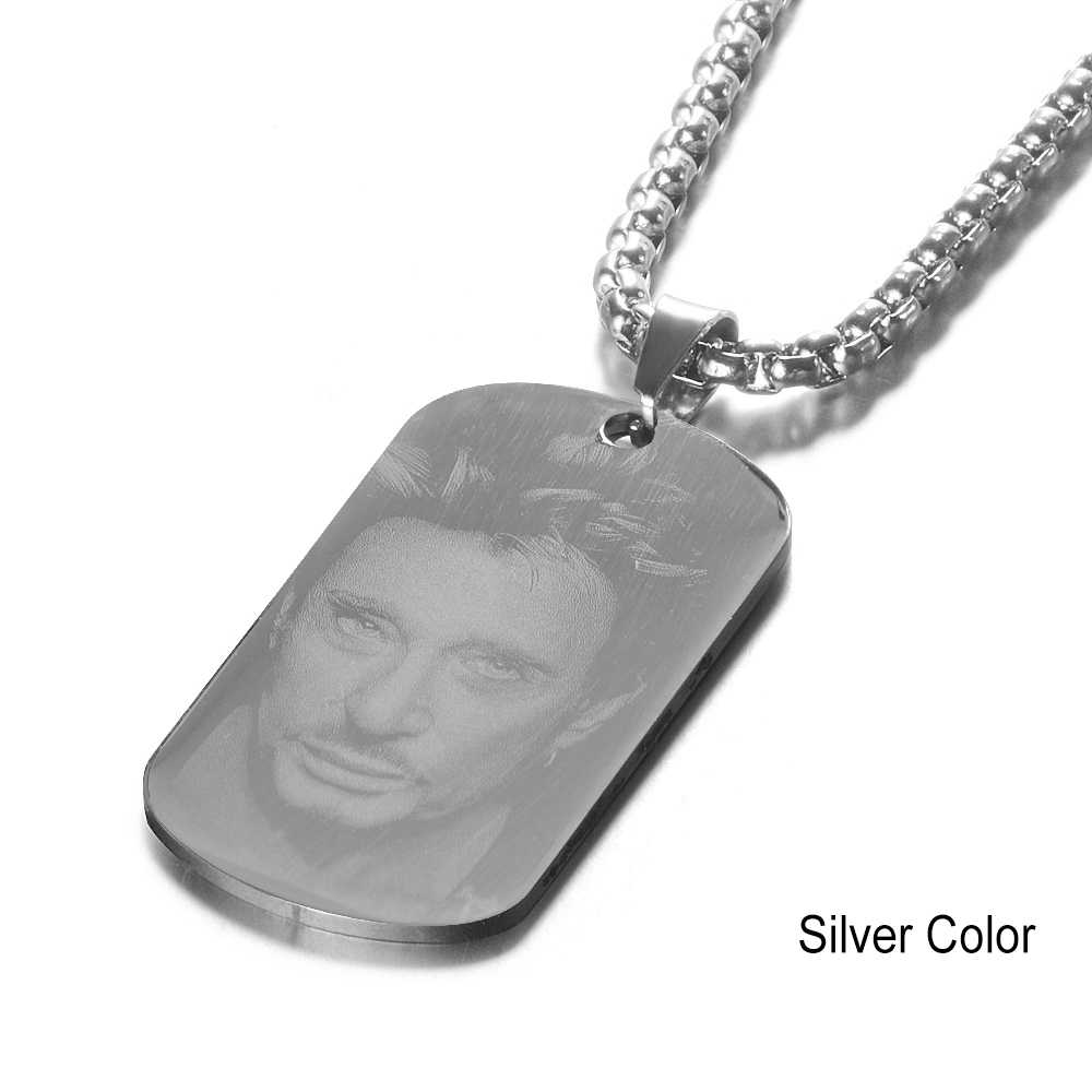 Stainless Steel Engraved French Rocker Johnny Hallyday Photo Necklace Pendant female male bijoux femme SL-046