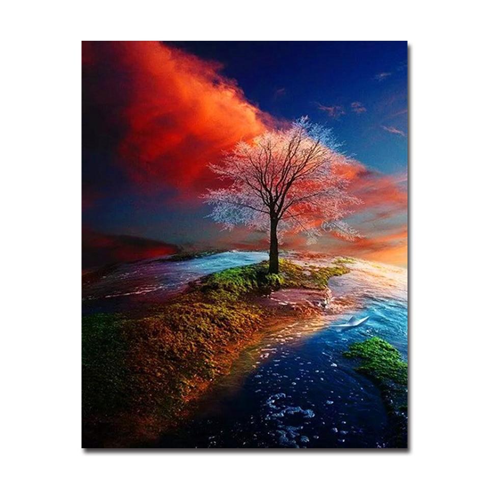Four Seasons Pemandangan Pohon Diy Lukisan Dengan Angka