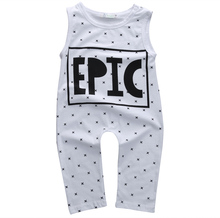 2016 Newborn Baby Girl Boy Clothes Cotton Polka Dot Letter Sleeveless Romper Jumpsuit Playsuit Outfits