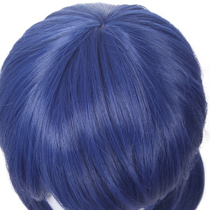 Image 5 - L email wig Dark Blue Cosplay Wigs Double Ponytails Straight Cosplay Wig Halloween Heat Resistant Synthetic Hair