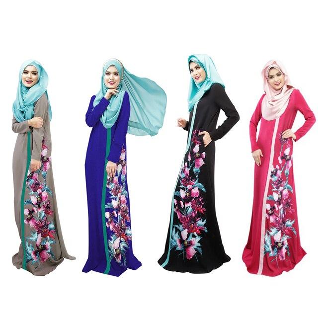 Women flower print robe abaya muslim Islamic Ladie spliced robe dress Caftan Kaftan Malaysia clothing turkish abaya vestidos