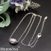 HERMOSA jewelry charming White Opal Zircon plating White gold bead fashion Necklace NK187