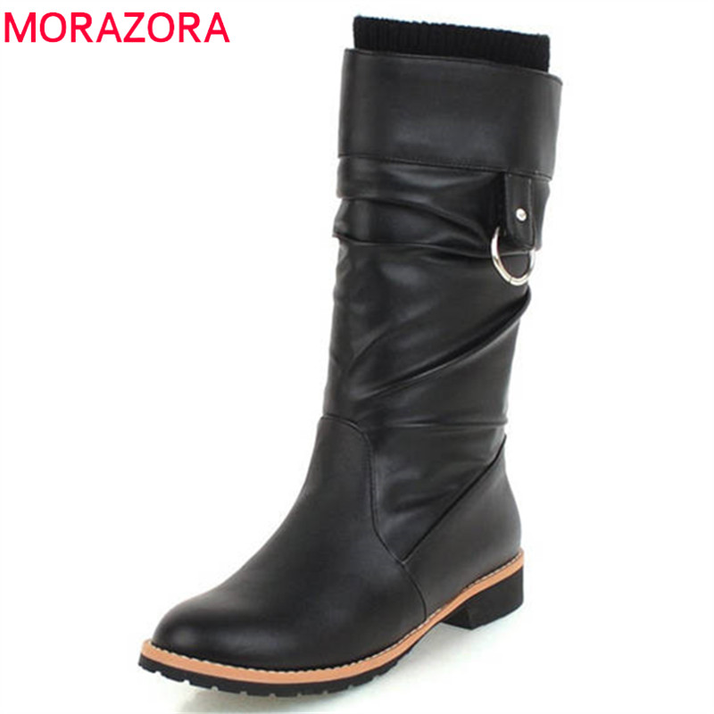 MORAZORA 2018 size 34-43 mid calf boots women autumn winter round toe booties slip on flat shoes woman elegant boots female band one yona winter snow boots women australia high quality mid calf slip on round toe 2018 size 34 44 new suggest boots black page 1