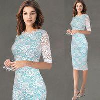 New 2017 Elegant Women Wedding Plus Size Half Sleeve Slimming Lace Sexy Dress Patchwork Knee Length