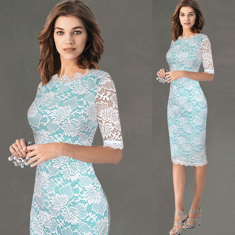New 2017 Elegant Women Wedding Plus Size Half Sleeve Slimming Lace Sexy Dress Patchwork Knee Length Casual Bodycon Pencil Dress