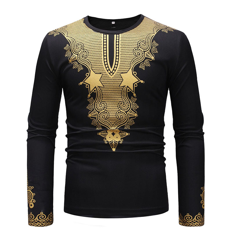 Men's African Metallic Print Dashiki Shirts Long Sleeves