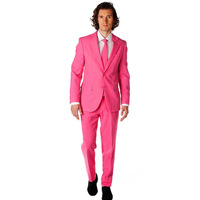 Fresh Pink Slim Fit Notch Collar Young Men's Party Tuxedos 2017 Elegant One Button Groomsman Wedding Suit ( Jacket+Pants+Tie)