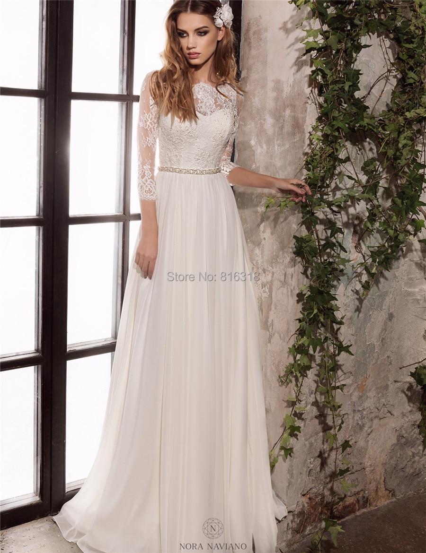 Simple Long Sleeve Wedding Dress