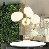 골드 철 밀키 유리 공 글로브 구 그늘 샹들리에 전등 현대 노르딕 매달려 램프 광택 luminaria 거실