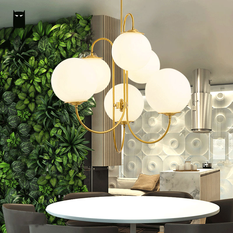 Gold Iron Milky Glass Ball Globe Sphere Shade Chandelier Light Fixture Modern Nordic Hanging Lamp Lustre Luminaria Living Room 25 30 40cm iron clear glass globe ball pendant light fixture modern simple nordic lamp avize luminaria dining table room hallway