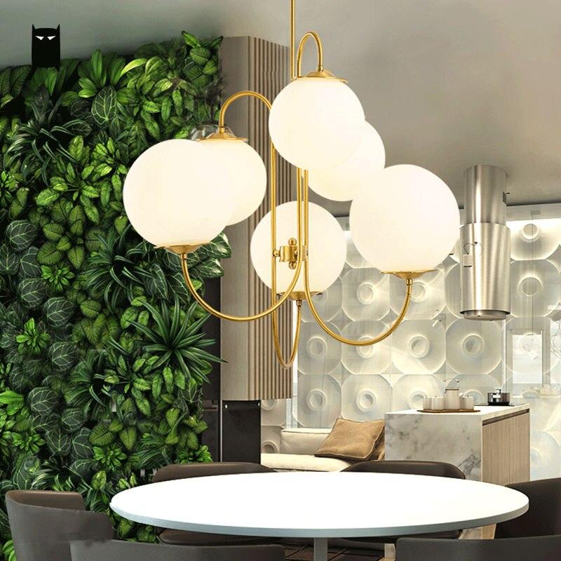 Gold Iron Milky Glass Ball Globe Sphere Shade Chandelier Light Fixture Modern Nordic Hanging Lamp Lustre Luminaria Living Room