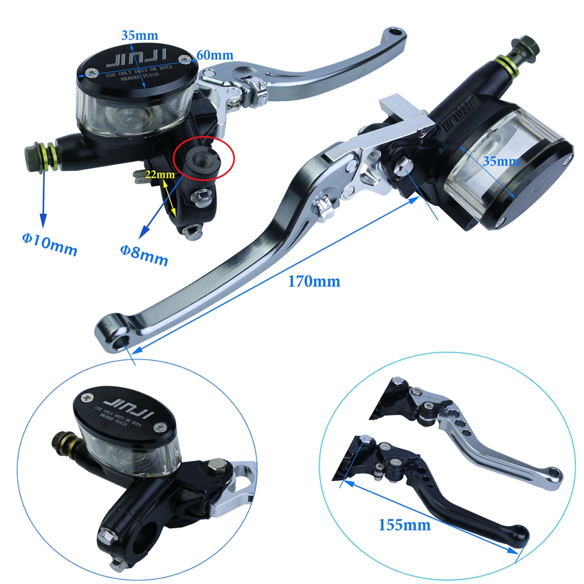 Motorcycle Brake Master Cylinder Mirror Seat Hydraulic Clutch Lever Universal Black Disc Brake Clutch Pump Lever Adjustable Bar twin dual master cylinder hydraulic handbrake drift e brake parking emergency brake lever vertical horizontal universal black