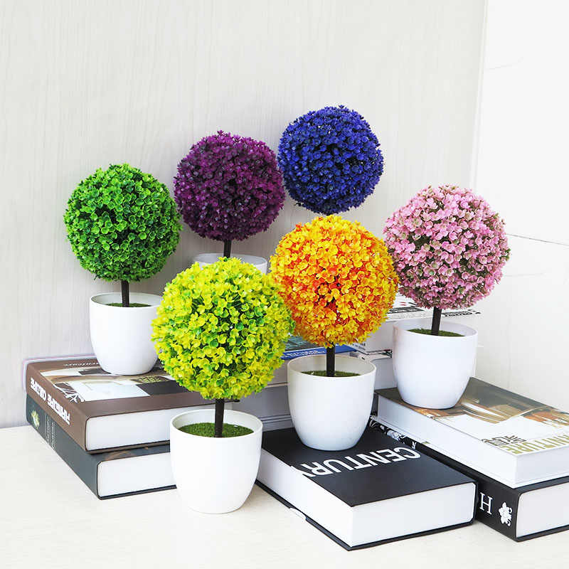 Sale Greeting Pine Cherry Blossom Ball Potted Artificial Flower Bonsai  Trigeminal Festival Home Fake Flowers Decorations