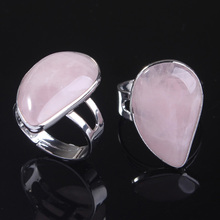 UMY New Stylish Silver Plated Resizable Water Drop Ring Natural Rose Quartz Fashion Jewelry
