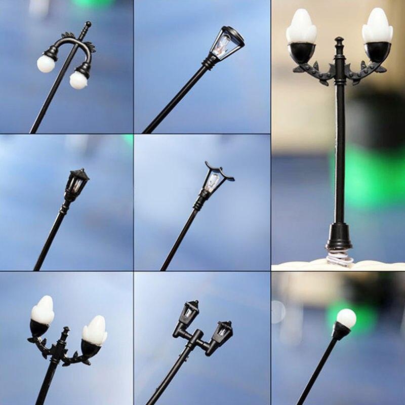 Mini Retro Street Lamp Miniature Garden Ornament Streetlight Figurines Fairy Garden Resin Craft Decor 10 Styles
