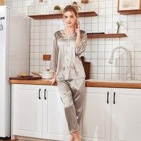 Женские пижамы, женские летние пижамы, 3/4 рукав, кружева, пэчворк, ночная рубашка, Атласный топ, брюки, наборы, женские пижамы для сна
