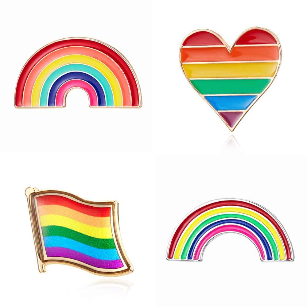 Fashion Rainbow Love Colorful Small Brooch Pins Pride Badges Lesbian Gay Couple Lapel Brooches For Men Women Clothes Decoration
