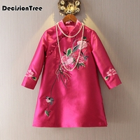2019 new rose red chinese women's satin cheongsam qipao dress chinese traditional dress cheongsam top silk embroidery dress