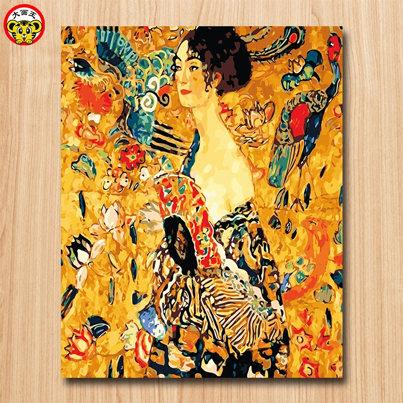 painting by numbers art paint by number Gustav Klimt Woman with fan diy Digital Painting Decorative paintings Coloring game Famo Сумка