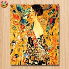 painting by numbers art paint by number Gustav Klimt Woman with fan diy Digital Painting Decorative paintings Coloring game Famo(China)