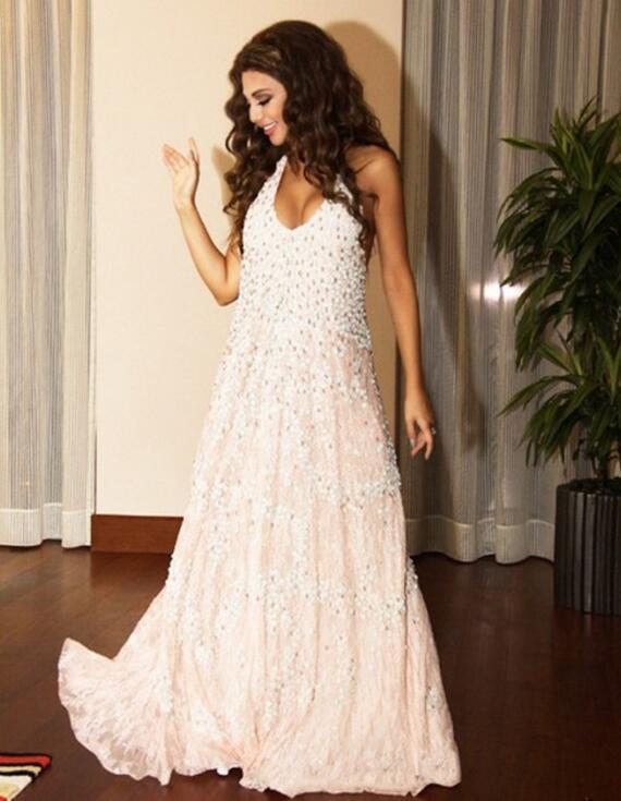 Blanco Perlas Halter Beach Vestidos de Baile 2017 robe de soirée sexy vestidos d