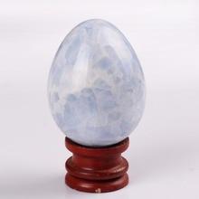 Azul Calcita Huevos de 3.0 pulgadas con soporte de madera Campana de Gran tamaño de Piedra Natural Tallada Chakra Healing Reiki