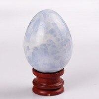 Mavi Kalsit ahşap standı ile 3.0 inç Yumurta Büyük boy Doğal Taş Oyma Çan Çakra Şifa Reiki