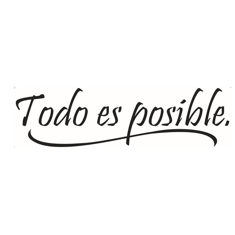 NEW Everything Is Possible Spanish Inspiring Quotes Wall Sticker Home Decor Bedroom Kids Wall Decal