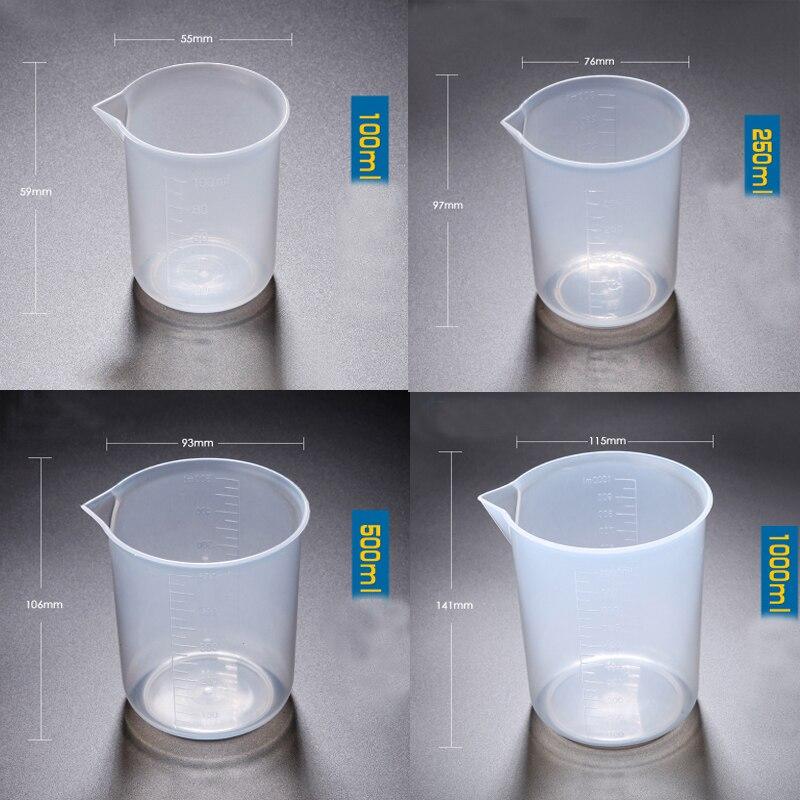 1set (100ml,250ml,500ml,1000ml) Plastic beaker Measuring Cup Food Grade Polypropylene School laboratory Kitchen Supplies