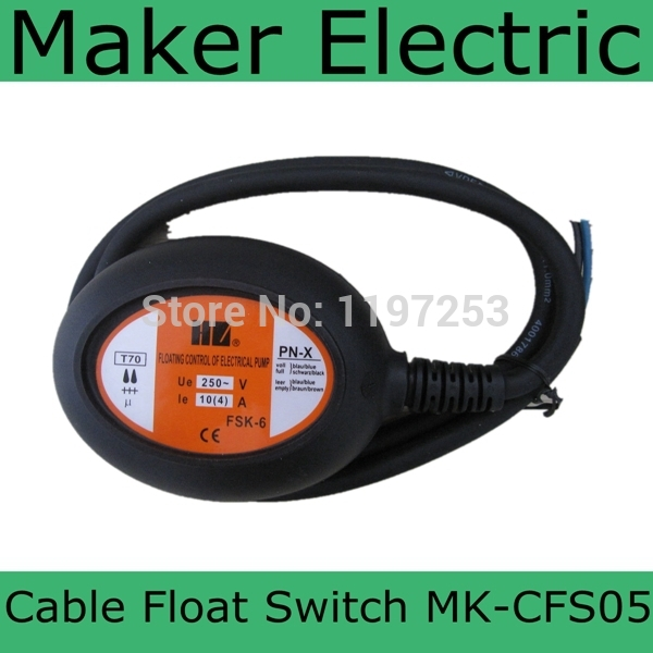 cheap price,hot sale cable float switches MK-CFS05 4 meter Black Cable Water Pump Float Switch Fluid Level Controller AC 250V