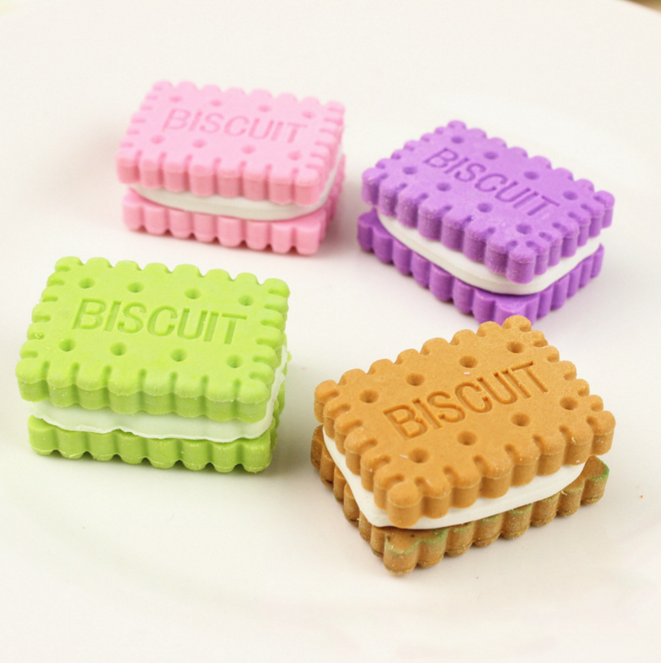 4Pcs/set Cute creative novelty stationery colorful biscuit eraser student teaching office stationery Korean-style stationery