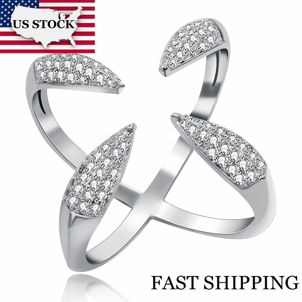 US STOCK Uloveido Fashion Cubic Zirconia X-Ring 4 Claws Free Size Open Rings Silver Color Statement Ring for Women Y447