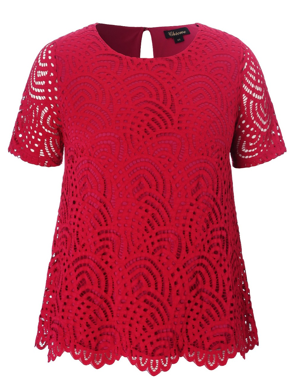 2018 Chicwe New Women s Plus Size Smart Scalloped Lace Top Tunic Blouse Large  Size Big Size 1X 4X-in Blouses   Shirts from Women s Clothing on ... 4500dce7fd2d