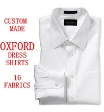 Custom Made Oxford Mens Camicie eleganti Polsino Francese, su misura Gessato Manica Lunga 100% Cotone Slim Fit Uomini di Oxford Camicia di Vestito Degli Uomini
