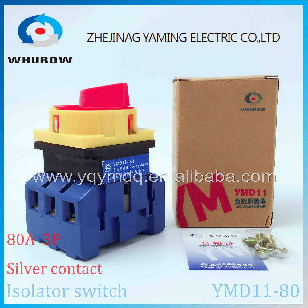 Isolator switch YMD11-80A load break switch universal power cut off switch on-off 80A 3P changeover cam switch 6 sliver contacts load circuit breaker switch ac ui 660v ith 100a on off 3 poles 3 phases 3no 2 position universal rotary cam changeover switch