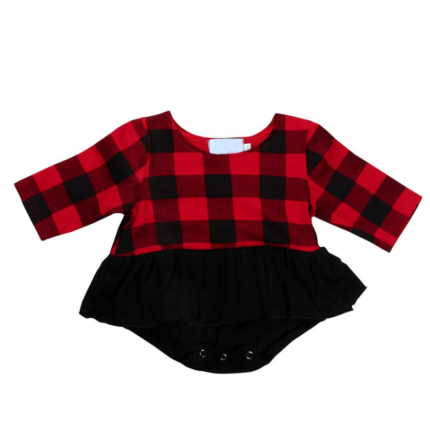 Girls Rompers Red Plaid Full Sleevel Onepiece Cotton Clothing Siamese Dress for Sweet Casual Kids 18Apr4