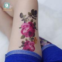 QC683 20X10cm Long HD Women Makeup Tatuajes Tattoo Sleeves Body Art Rose Peony Flower Temporary Flash Tatoos Sticker Tatuagem