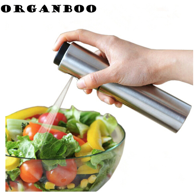 Kitchen Accessories Silver Stainless Steel Spice Container Olive Oil  Vinegar Sprayer Spraying Bottle BBQ Cooking Tools