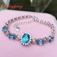 925 sterling silver with  natural Topaz stone bracelets women Fashion is pure and fresh Generous and beautiful