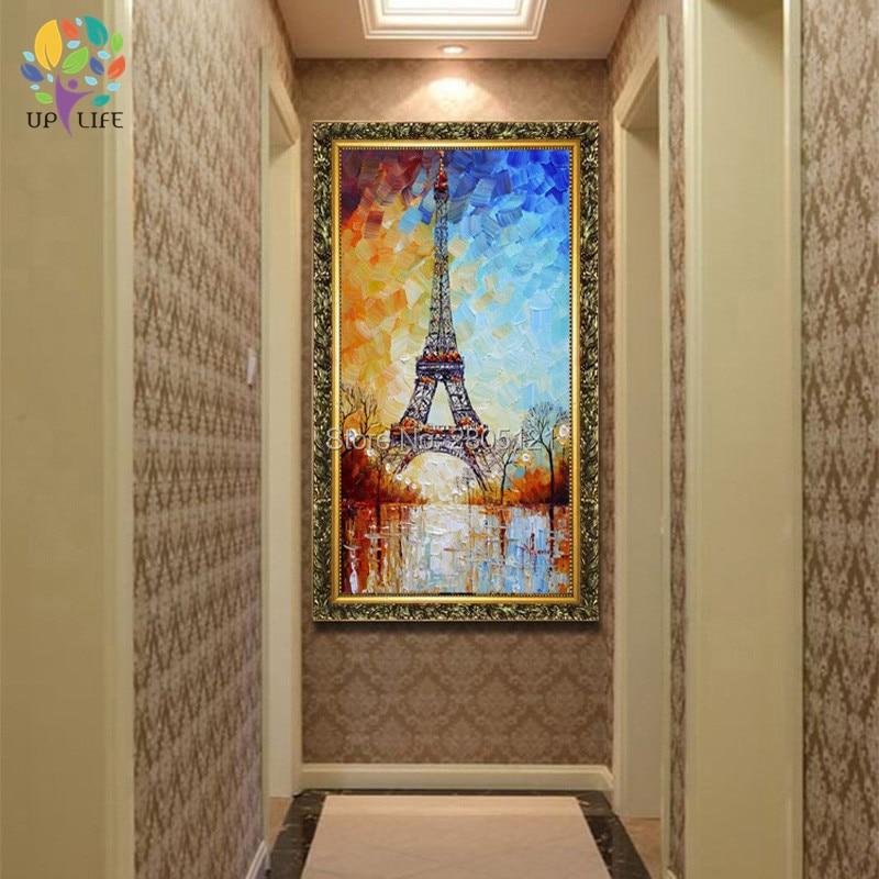 handmålad palettkniv oljemålning Eiffeltornet vitblått paris - Heminredning - Foto 2