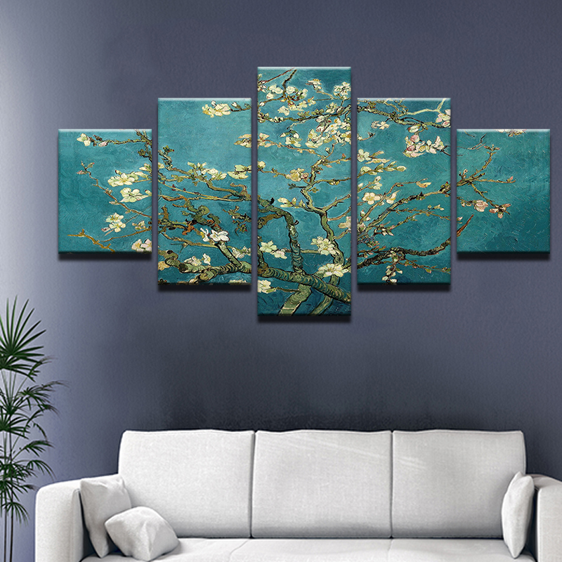 Painting Home Decor Modular 5 Panel Abstract Blue Peach