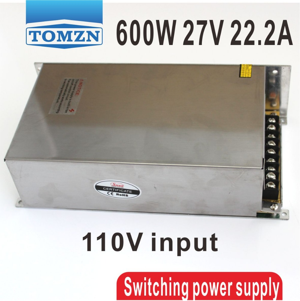 600W 27V 22.2A 110V input Single Output Switching power supply for LED Strip light AC to DC