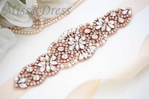 MissRDress Diamond Wedding Dress Belt Rose Gold Rhinestones Bridal Belt  Crystal Pearls Bridal Sash For Wedding b8180f547977