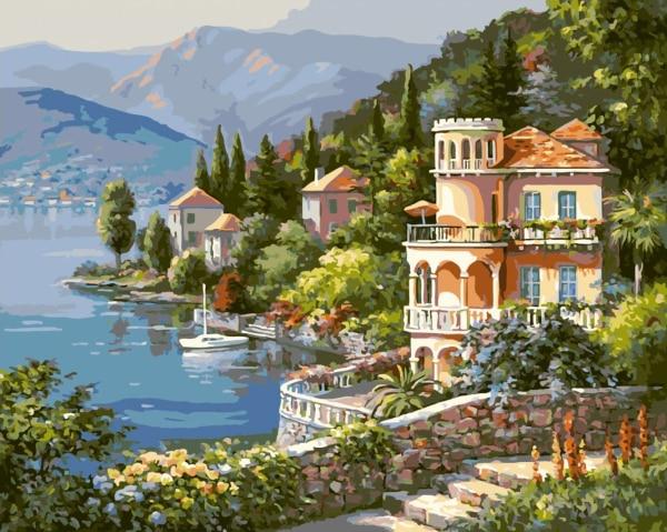 Nueva decoración casera Frameless cuadros pintura por números pintura óleo Digital sobre lienzo paisaje lago ciudad Q1427