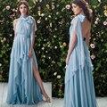 Azul Vestidos de Noite Vestidos Caixilhos Alta Neck Chiffon Backless Side Slit Plissado Azul Vestidos de Baile 2017 Nova