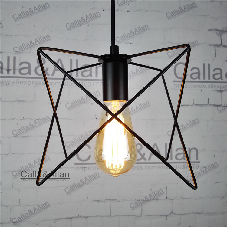 Loft Vintage Industrial Retro Pendant Lamp Edison Light E27 Holder Iron Restaurant Bar Counter Attic Bookstore Cage Lamp