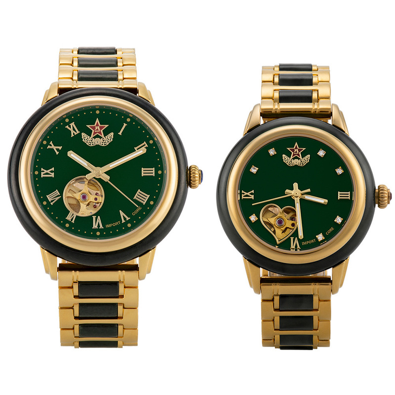 2019 Direct Selling Hetian Jade Watch Men's Army Pentagon Hollow-out Automatic Machine One Delivery
