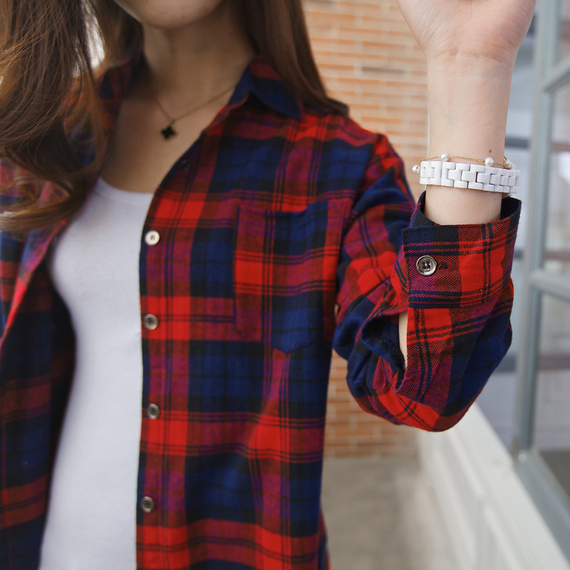 d18d4695f Plus Size Blue Red Plaid Shirt Women Ladies Shirt In Cell Loose Top Long  Plaid Blouse Women Boyfriend Long Sleeve Large Size-in Blouses & Shirts  from ...