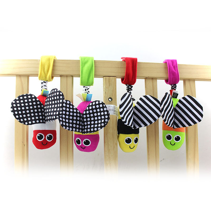 Baby Rattles Hanging Bee With Sound Cute Animal Infant Baby Crib Stroller Toy 0-12 Months Plush Butterfly Bed Play Doll B0952